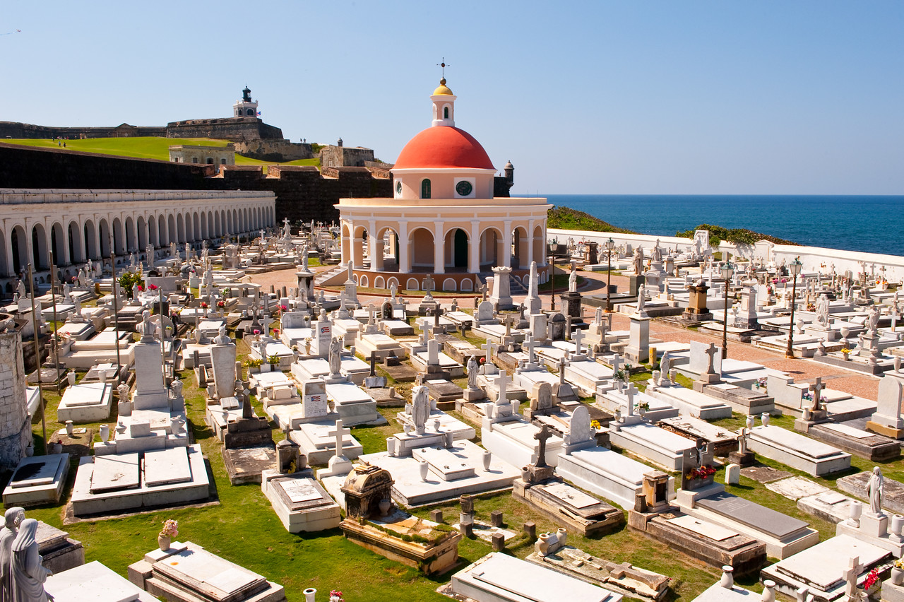Cemetery at Old San Juan, Puerto Rico as seen from the surrounding fortress wall.