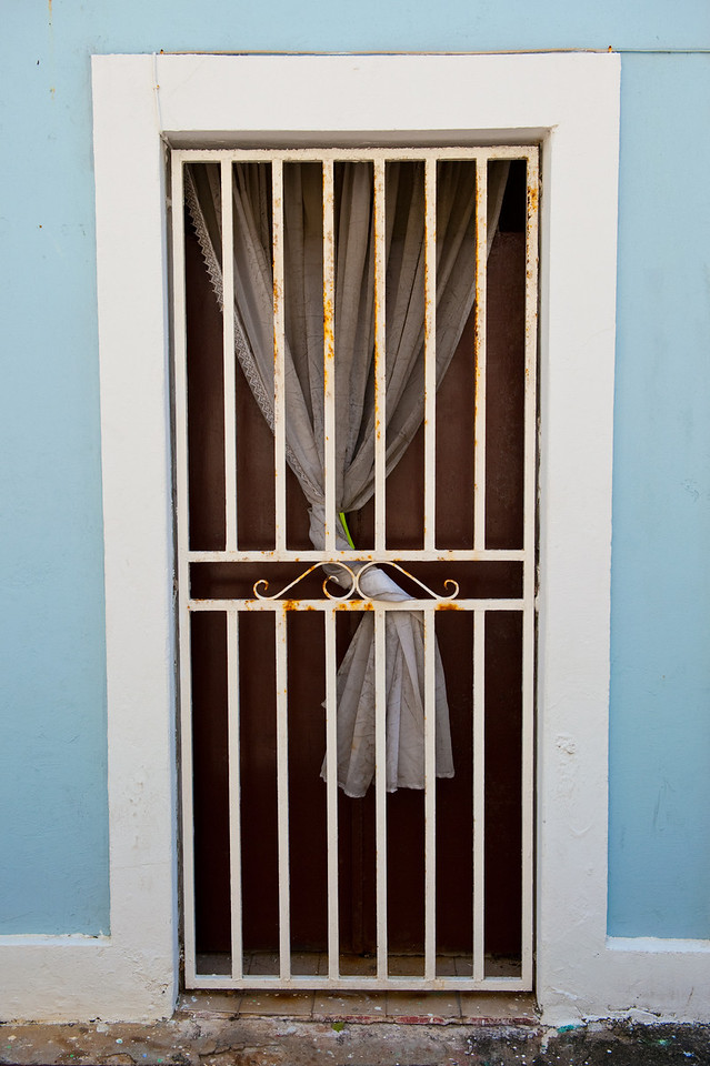Interesting doorway with drapery behind, in Old San Juan.