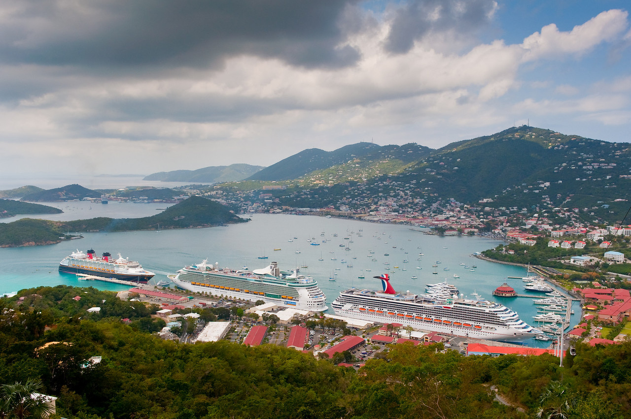 Mountaintop view of cruise ships docked at Charlotte Amalie, St. Thomas, U.S. Virgin Islands.