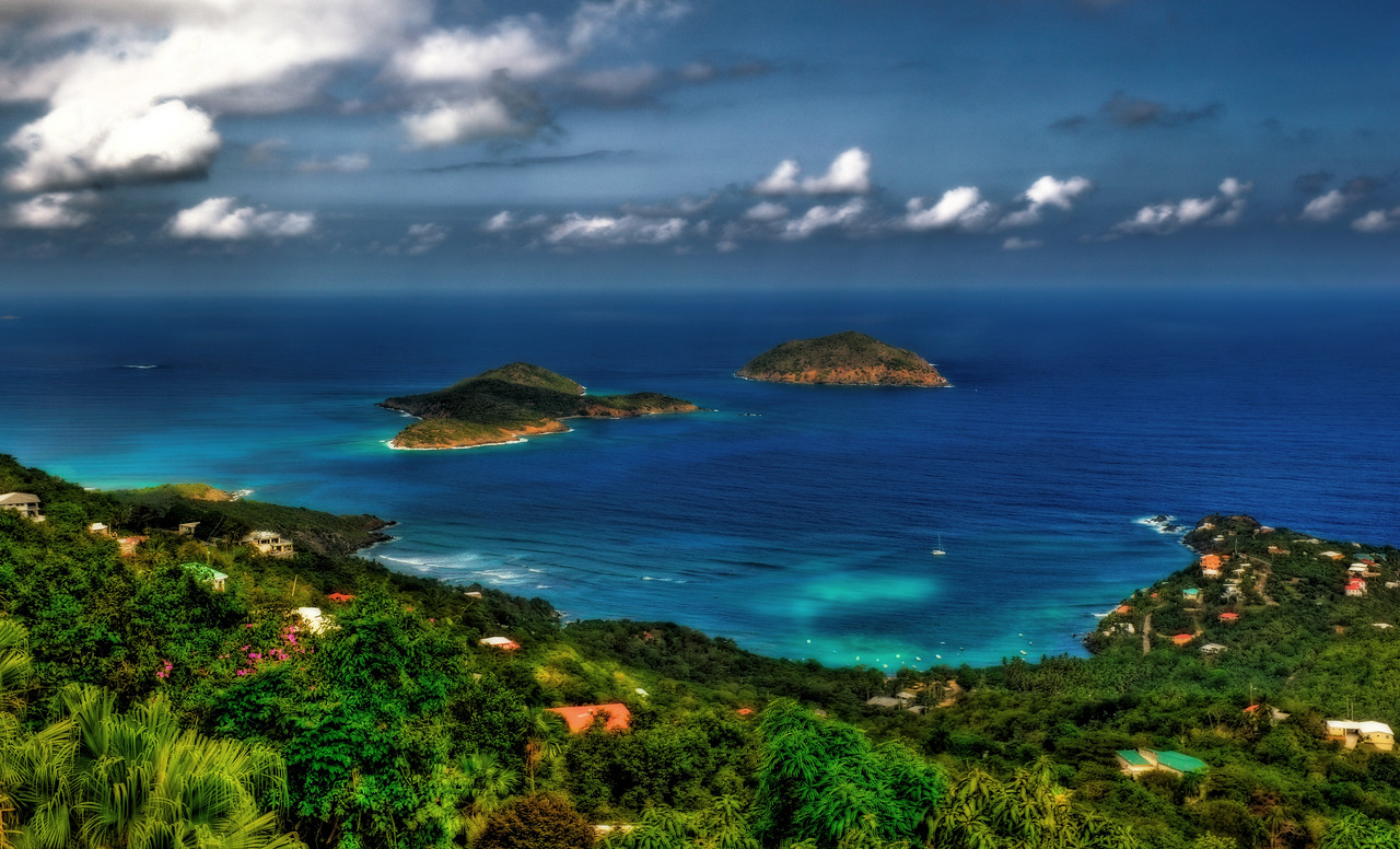 High Dynamic Range (HDR) image of islands in brilliant blue water off the coast of St. Thomas.