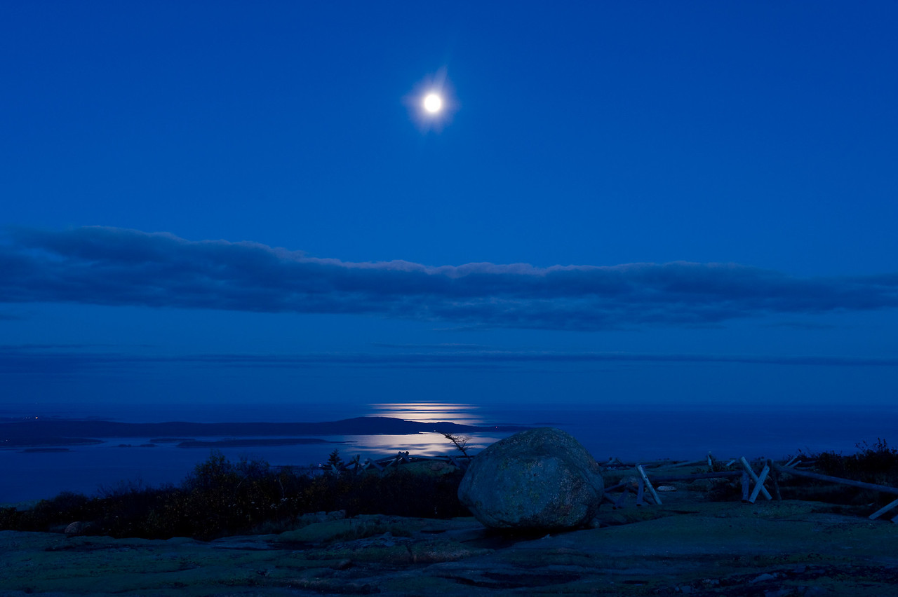 Moonrise over the Atlantic.  Taken from the summit of Cadillac Mountain in Acadia National Park, Maine.
