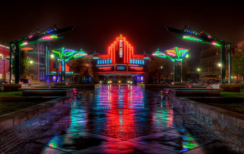 Neon reflections on a rainy night at the Warren Theater, in the Old Town area of Wichita, Ks.