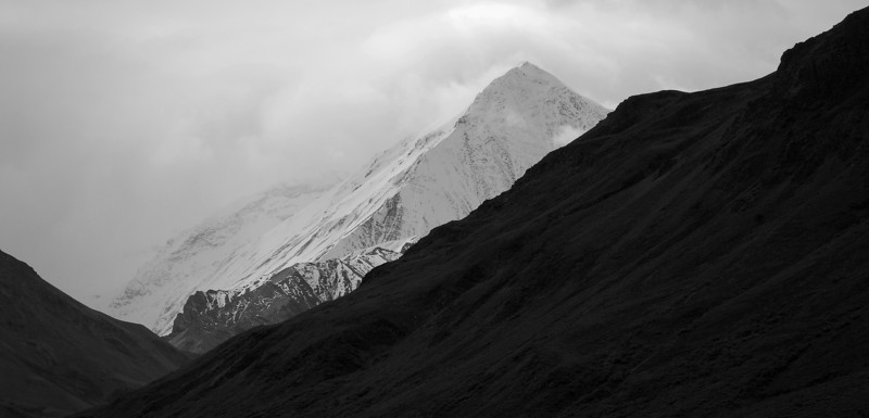 Mountains in monochrome, from the Toklat River area near the park road in Denali National Park.