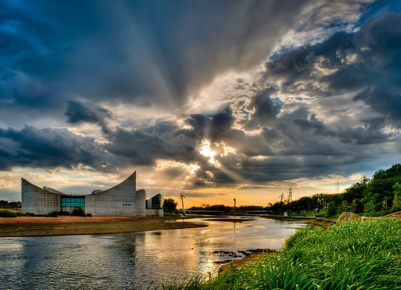 Clearing storm near sunset on the Arkansas River in Wichita, Ks.