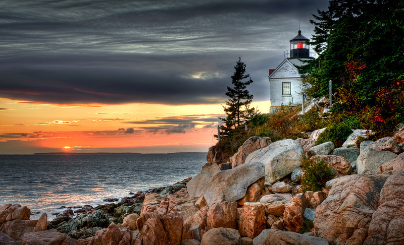 Sunset from the Bass Harbor Lighthouse on the coast of Maine.