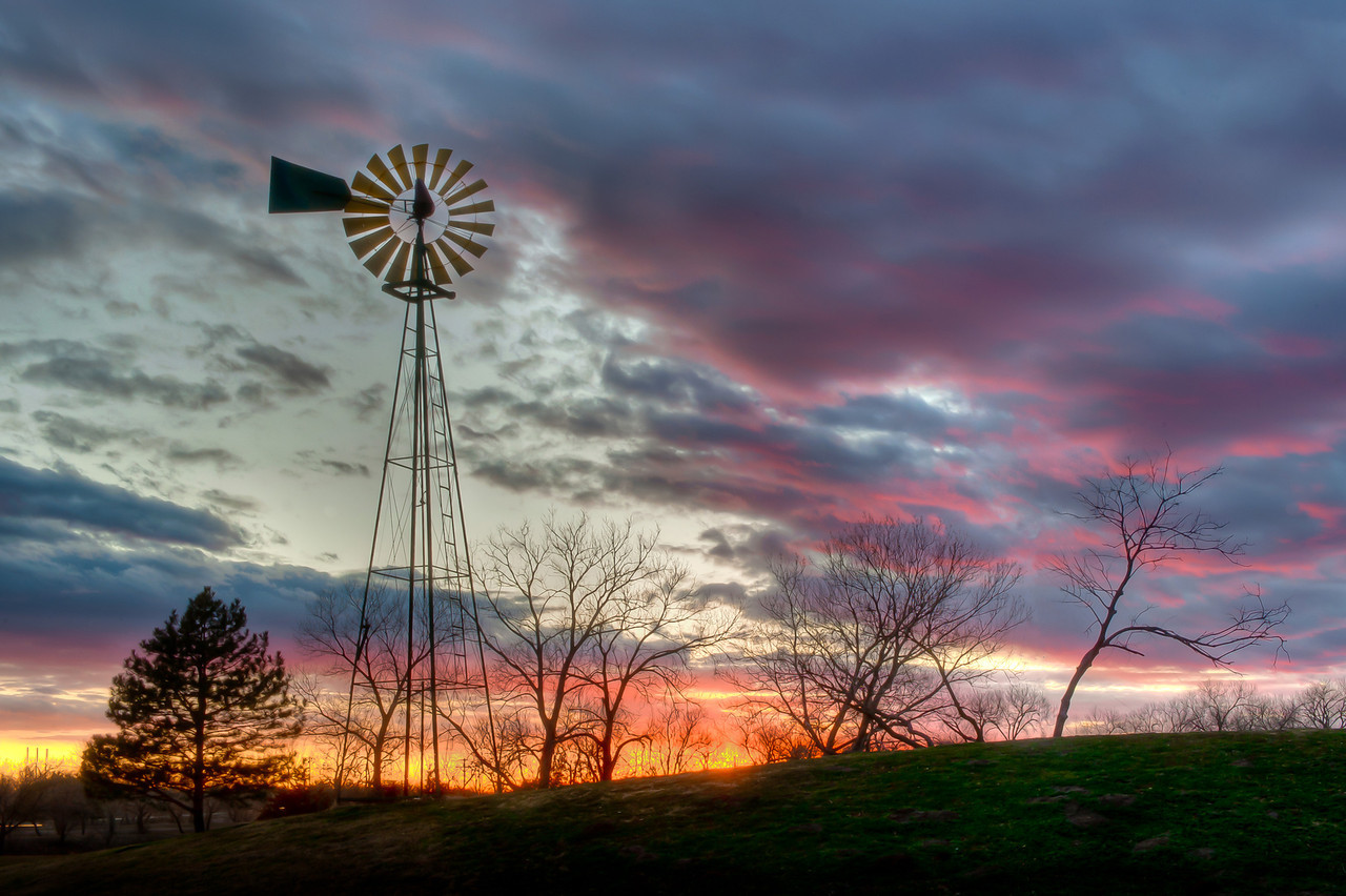 Windmill sunset at Sedgwick County Park, Wichita, Ks.