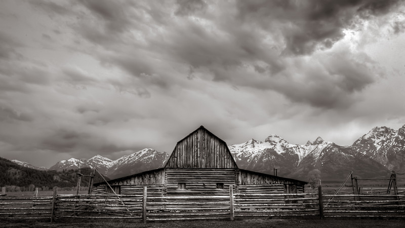 Stormy evening at one of the Moulton barns along Mormon Row, Grand Teton National Park.