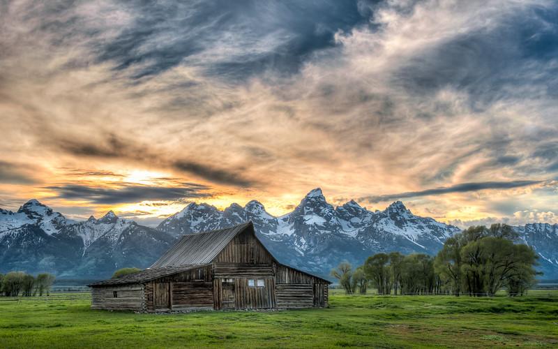 Sunset at the southern Moulton barn, Grand Teton National Park.