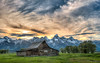 Sunset at the southern Moulton barn, Grand Teton National Park.