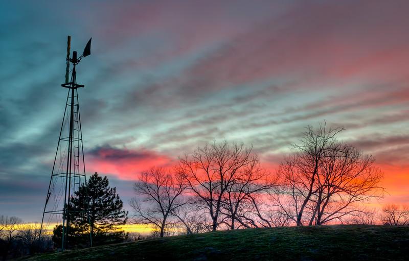 Windmill Sunset #2 at Sedgwick County Park, Wichita, Ks.