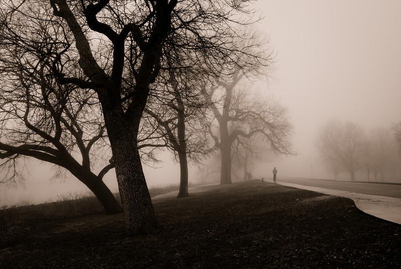 Foggy walk in Wichita, Ks.