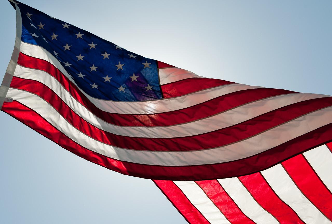 American flag at Memorial Day display in Benton, Ks.