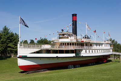 The restored 220-foot steamboat Ticonderoga, a National Historic Landmark, is the last walking beam side-wheel passenger steamer in existence. Built in Shelburne, Vermont in 1906, it operated on Lake Champlain until 1953. The Ticonderoga was moved two miles overland from the lake to the Shelburne Museum in1955.
