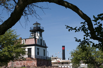 Colchester Reef Lighthouse and Steamboat Ticonderoga at the Shelburne Museum, Shelburne, VT