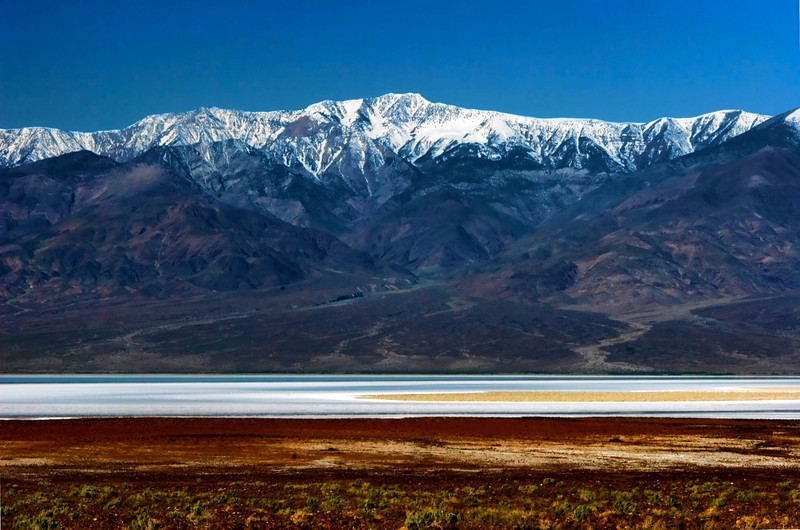 Snow-capped Panamint Mountains, Badwater Basin, Death Valley National Park, California. April 2005