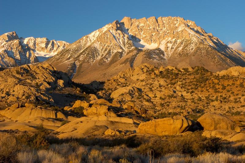 Sunrise at Butterfield Boulders, Eastern Sierra Nevada, California.  October 19, 2009