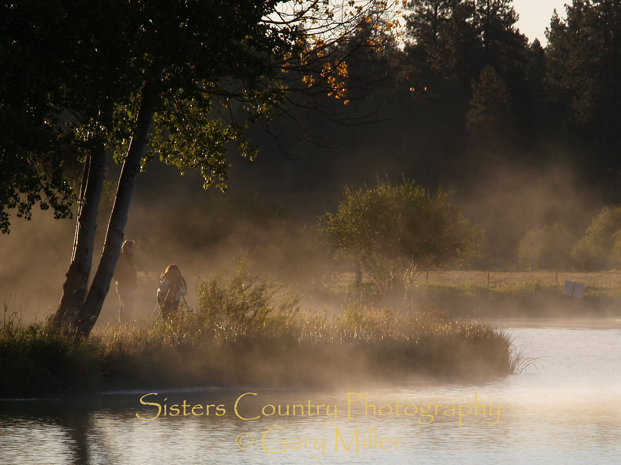 Early morning photographers are rewarded with a sunlit mist. Black Butte Ranch - Sisters, OR - Sisters Country Photography