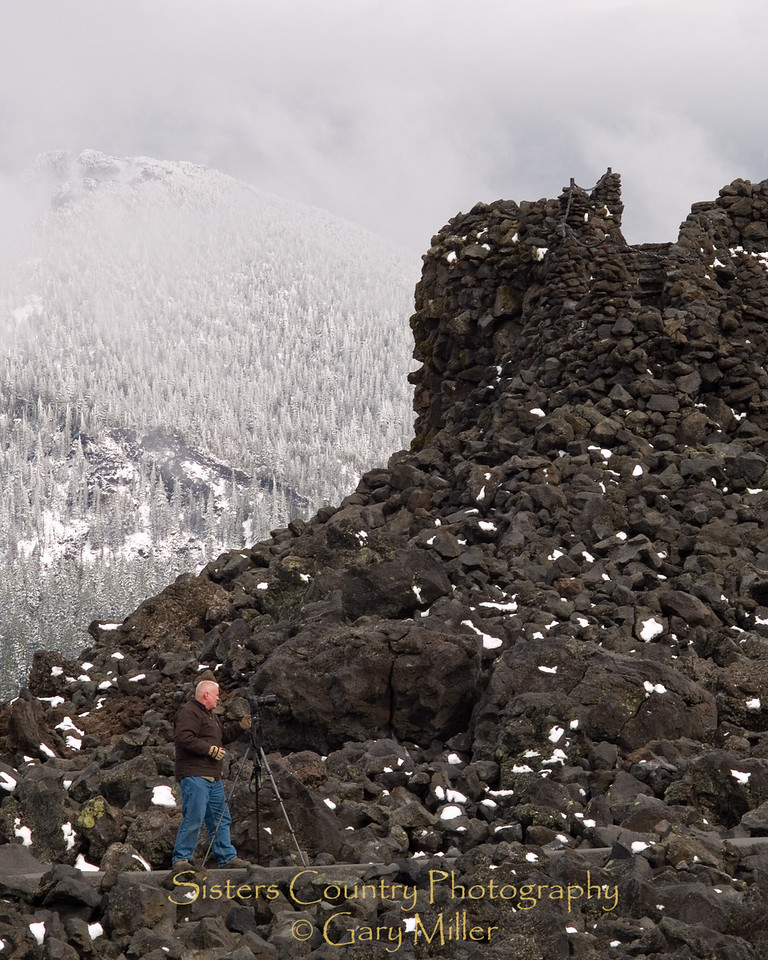 Scott McKittrick shooting photos below the 'Rock House' at the summit of the McKenzie Pass - Sisters, OR - Gary Miller's Sisters Country Photography