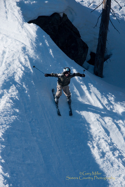 Bombs away for this youngster at Hoodoo Ski Area - Sisters, Oregon. Gary Miller - Sisters Country Photography