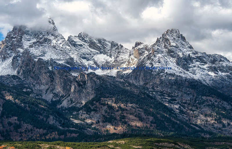Grand Tetons with snow covered peaks