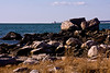 <center>Westerly Granite Boulders  <br><br>The shoreline is dotted with large boulders made of Westerly Granite.  <br><br>Bluff Point State Park<br>Groton, Connecticut</center>