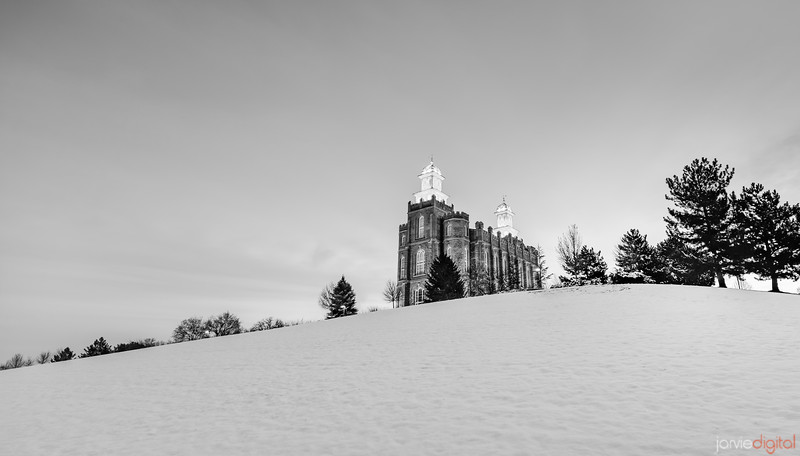 Logan Temple in the Snow (Downhill)