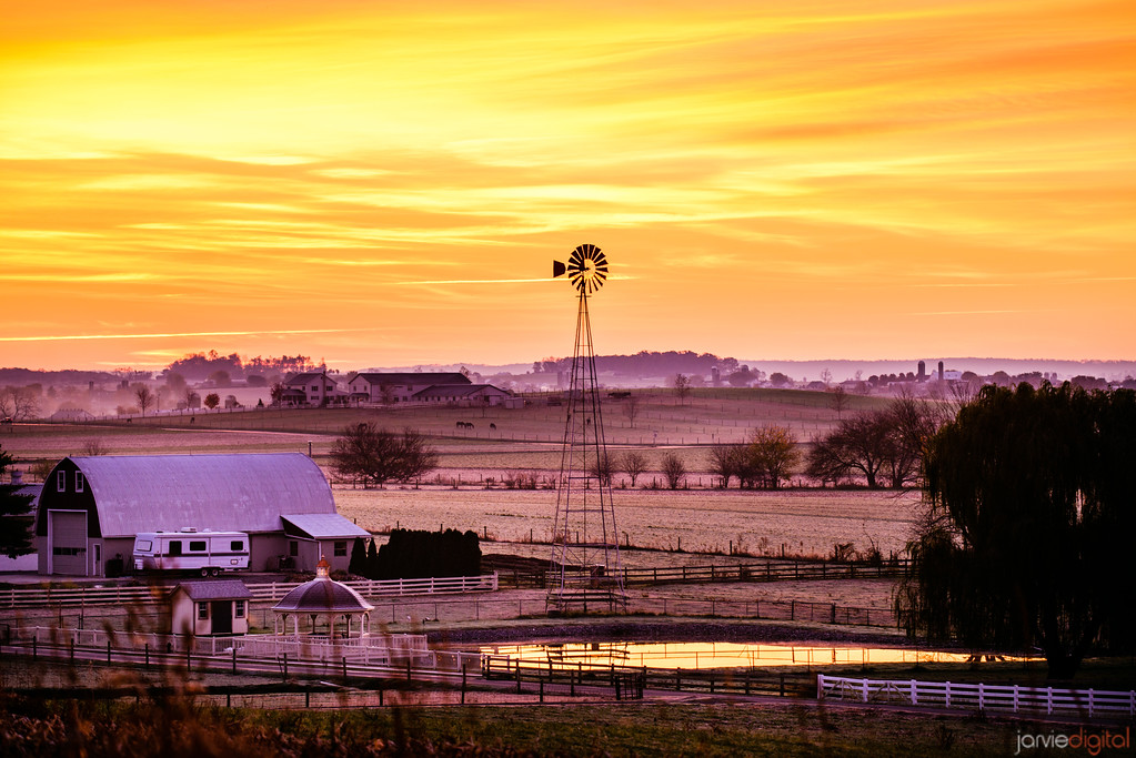 amish country and windmill