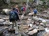 <center>Franconia Loop Hike -- 22 May 2010<br>New England Hiking Group<br><br><b><u>Stream Crossing  </u></b><br><br>Falling Waters Trail has numerous stream crossing.  Here's the group at the first of the crossings fairly low on the mountain.  </center>