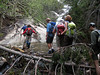 <center>Franconia Loop Hike -- 22 May 2010<br>New England Hiking Group<br><br><b><u>Balancing Act  </u></b><br><br>The higher we climbed, the more interesting the stream crossings became.  </center>