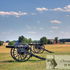 Two cannons in grass field in front of a house.