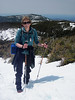 <center>Mount Lafayette Hike -- 1 May 2010<br>New England Over 50 Hiking Group<br><br><b><u>Janet Approaches the Summit  </u></b><br><br>Here's a nice shot of Janet, now only about 1/2 mile from the summit of Lafayette.  <br><br>Franconia Notch, New Hampshire</center>