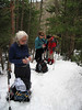 <center>Mount Lafayette Hike -- 1 May 2010<br>New England Over 50 Hiking Group<br><br><b><u>Snack Break  </u></b><br><br>The group paused for a few minutes for a brief snack while ascending the final half-mile to Greenleaf Hut.  <br><br>Franconia Notch, New Hampshire</center>