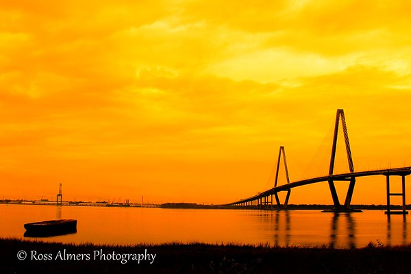 Ravenel Bridge over the Cooper River at sunset