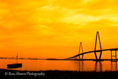 Ravenel Bridge over the Cooper River at sunset