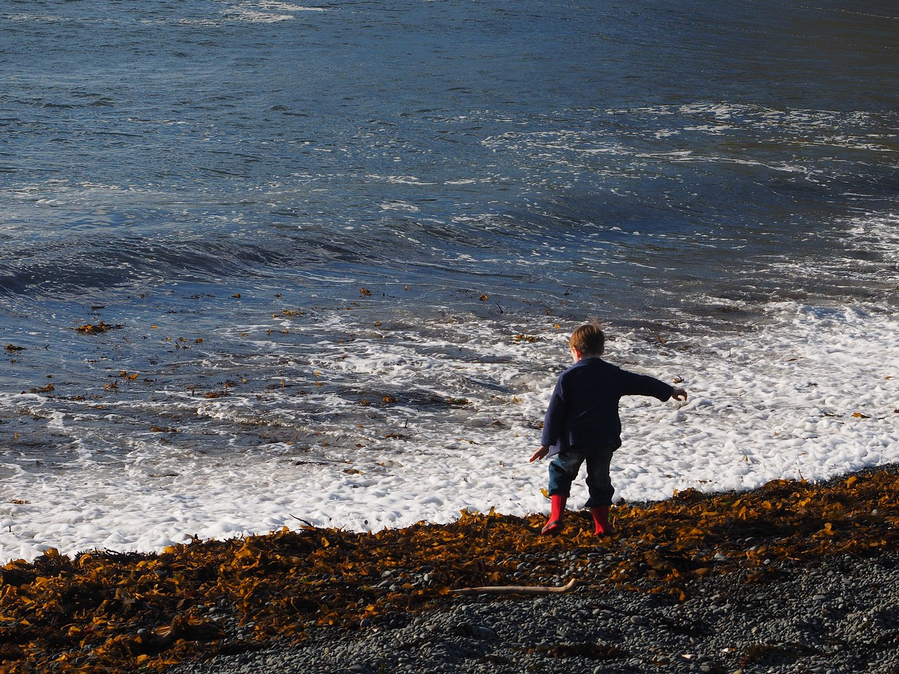 Boy at Makara Beach