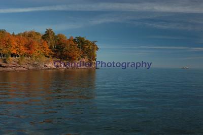 Presque Isle park from the break wall of Marquette's Upper Harbor, Marquette, Michigan