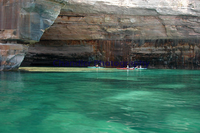 Pictured Rocks National Park.  Look close you can see some very large rock under the water, at points these rock are in water over 18 feet deep yet they look like you could bottom out on them with your boat.