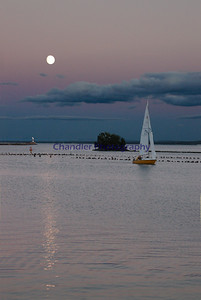 Moon light over Marquette's lower harbor