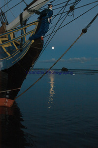 Marquette's lower harbor by moon light, Marquette, Michigan