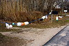 <center>North South Trail - Section One - 19 March 2011<br>AMC - Narragansett Chapter<br><br>Floats and Buoys  <br><br>Here's a creative use of buoys along the road heading north from the beach.  </center>