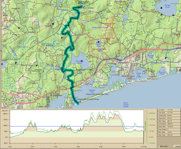 "<center>North South Trail - Section One - 19 March 2011<br>AMC - Narragansett Chapter<br><br>Section One Trail Profile  <br><br>We are doing the North South Trail in the traditional ""south to north"" direction.  Today's hike started at the southern terminus of the trail which is the water's edge on Blue Shutters Beach.  Winding through Burlingame State Park and Burlingame Management Area, Section One ends at the Meadowbrook Pond Fishing Area.  Total distance of Section One was 11.7 miles with a 786 foot gain in elevation.  </center>"