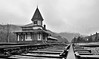 A Black and White of the Crawford Notch RR station in the rain.  New Hampshire.