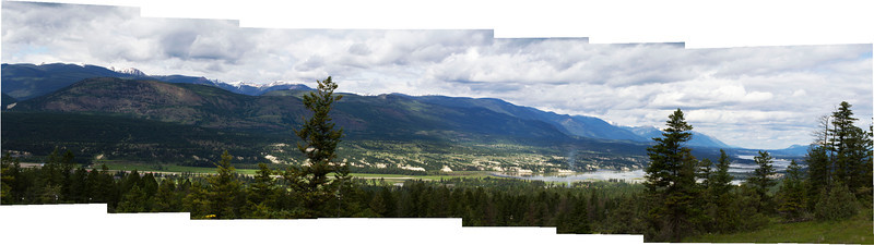 Panoramic view of the Columbia Valley from Fairmont Hot Springs Resort. July 2011.