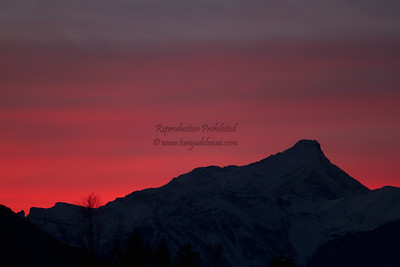 Winter solstice sunset behind Mt Nelson. Dec 2011