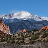 The Garden of the Gods fountain formations frame Pikes peak in the distance | Winter 2013 | Panorama format