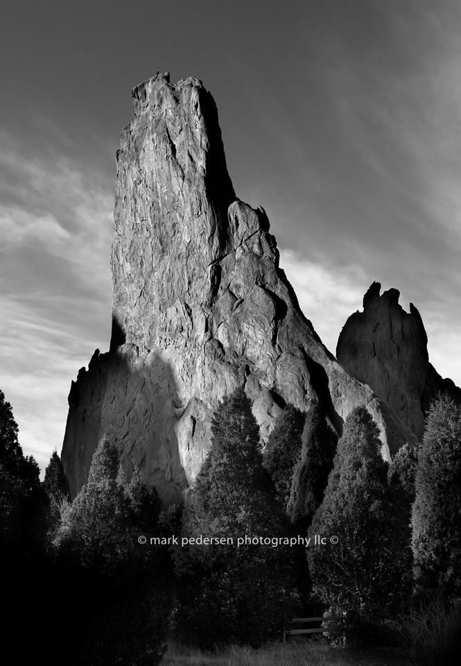 Morning at the Garden of the Gods | Colorado Springs CO |014 | Pine Trees flank the Fountain formations