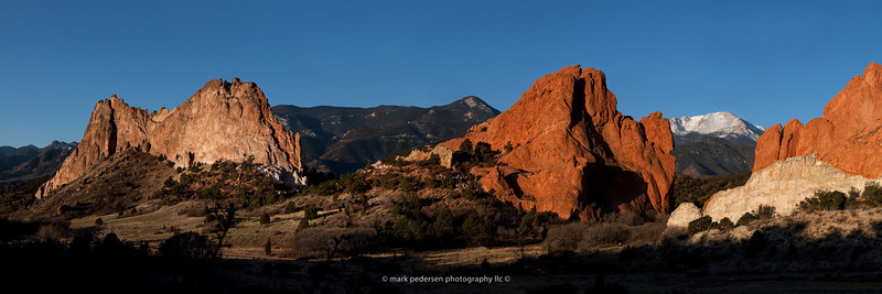 "Morning at the Garden of the Gods | Colorado Springs CO | The iconic Fountain formations frame Pikes Peak in the distance | 10x30 / 12x36"" Panorama format 