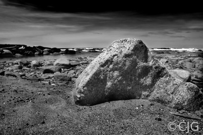 Rock On The Beach (Black and White)