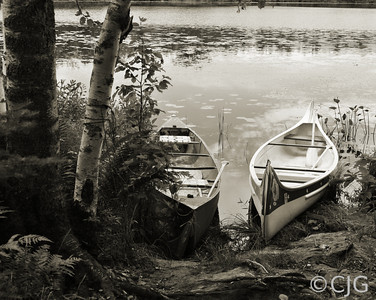 Two Canoes By the Lake (Sepia)