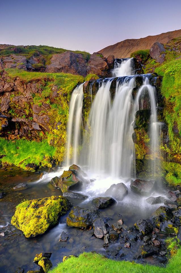 A remote waterfall near Hjardjarfell, Northwest Iceland.